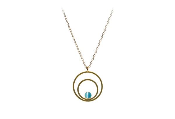 Raspe Kette Circle klein, aquamarine, vergoldet
