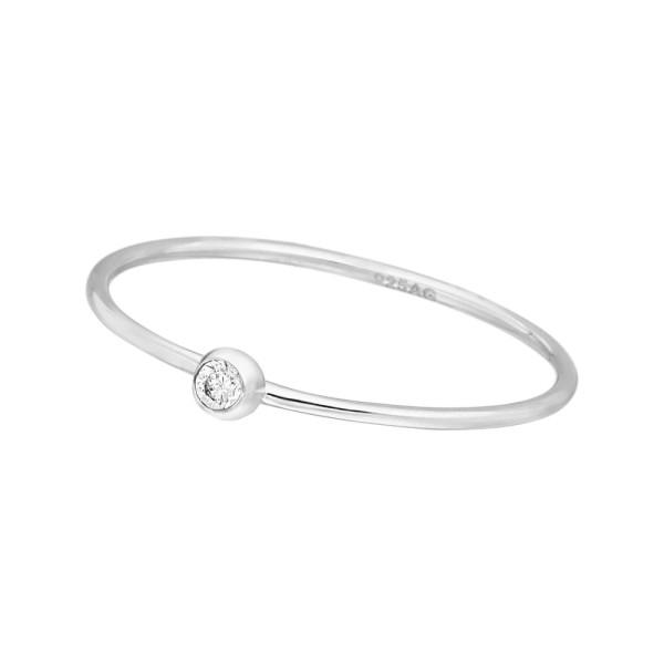 Leaf Ring Solitaire, Silber rhodiniert