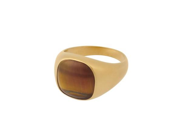 Unisex Ring Tiger Eye, vergoldet