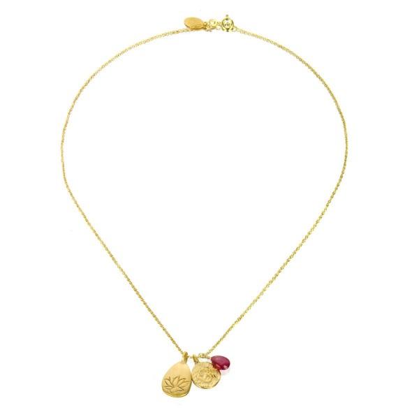 Satya Kette Gold Ruby Om And Lotus, vergoldet