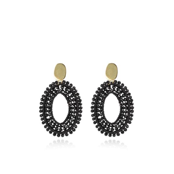 Ohrringe Doppelstein mit Seide, oval, schwarz, M, vergoldet