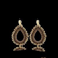 LOTT.gioielli Ohrringe Carina mit Seide, braun, L, vergoldet