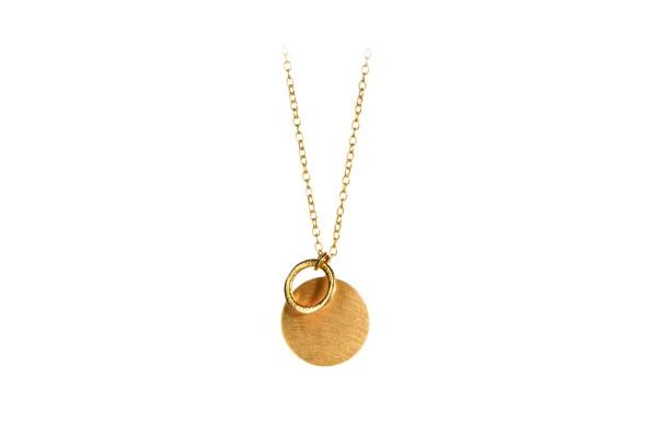 Pernille Corydon Kette Coin & Circle, vergoldet