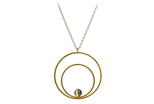 Kette Circle groß, grau, vergoldet