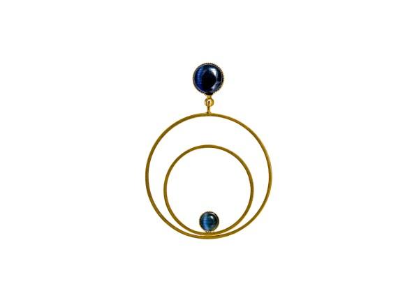 Ohrringe Circle groß, blau, vergoldet