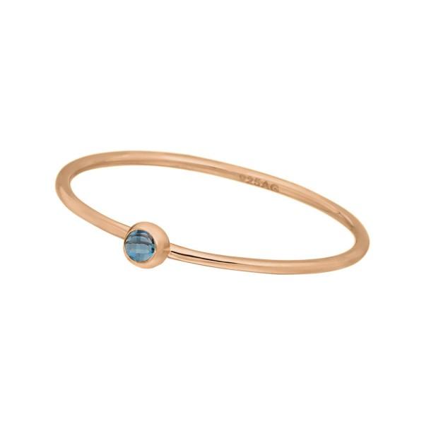 Ring Solitaire, Blue, rosé vergoldet