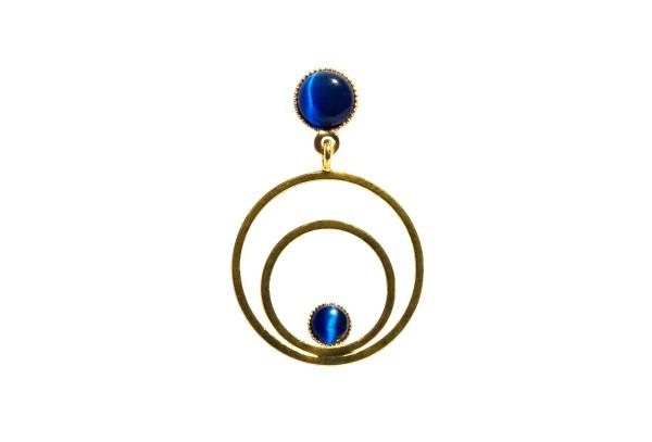 Ohrringe Circle klein, blau, vergoldet