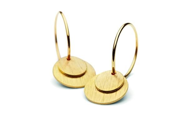 Ohrringe Small Coin, vergoldet