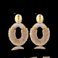 LOTT.gioielli Ohrringe Yara Combi oval, champagne, L, vergoldet