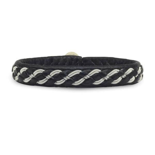 Armband AL011, Zinnfaden & Leder