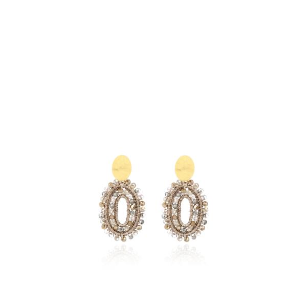 Ohrringe Doppelstein mit Seide, oval, Champagner, XS, vergoldet