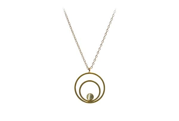 Kette Circle klein, grau, vergoldet