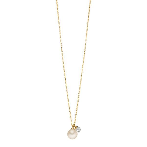 Kette Two Drop mit Perle/Bergkristall, vergoldet