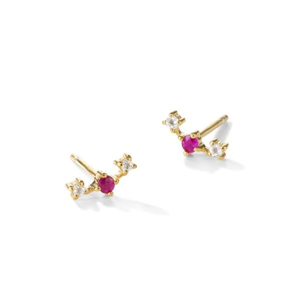 yours. Jewelry Ohrstecker Broken Vintage, raspberry sorbet, vergoldet