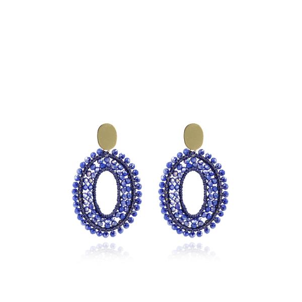 Ohrringe Doppelstein mit Seide, oval, blau, M, vergoldet