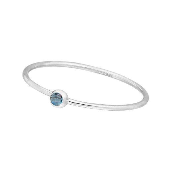 Ring Solitaire, Blue, Silber
