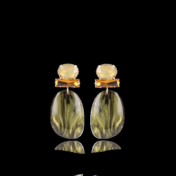 LOTT.gioielli Ohrringe Aurora, oval, grün, L, vergoldet