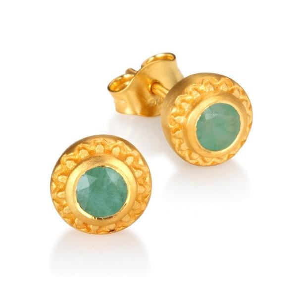 Ohrstecker Inner Radiance Emerald, vergoldet