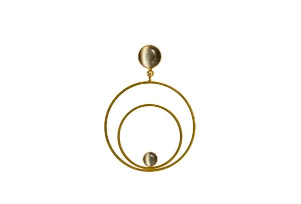Raspe Ohrringe Circle groß, grau, vergoldet