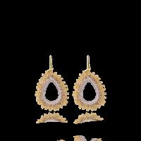 LOTT.gioielli Ohrringe Carina mit Seide, champagne, M, vergoldet