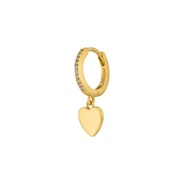 Ohrringe Single Creole Heart mit Zirkonia, vergoldet