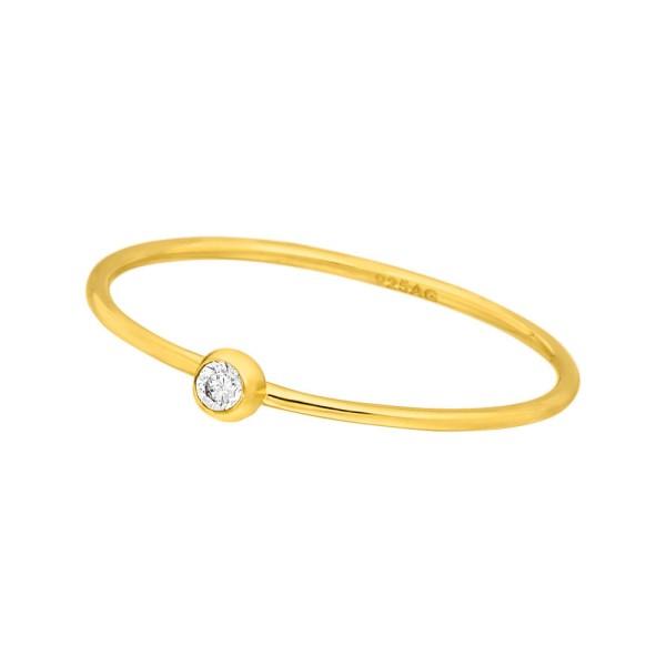 Leaf Ring Solitaire, vergoldet