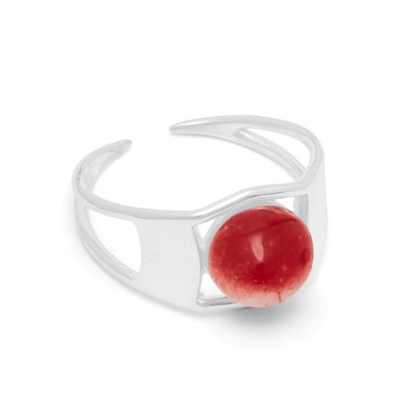 Ring Arch, Scarlet Red, Silber, Gr. 55