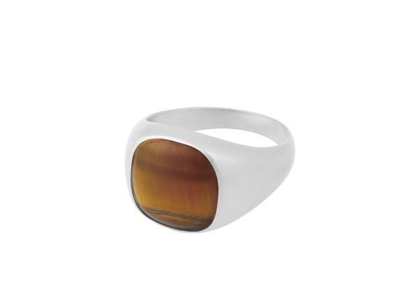 Unisex Ring Tiger Eye, Silber