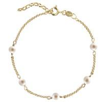 Jeberg Jewellery Armband Love Eye Bracelet - Freshwater Pearls, vergoldet