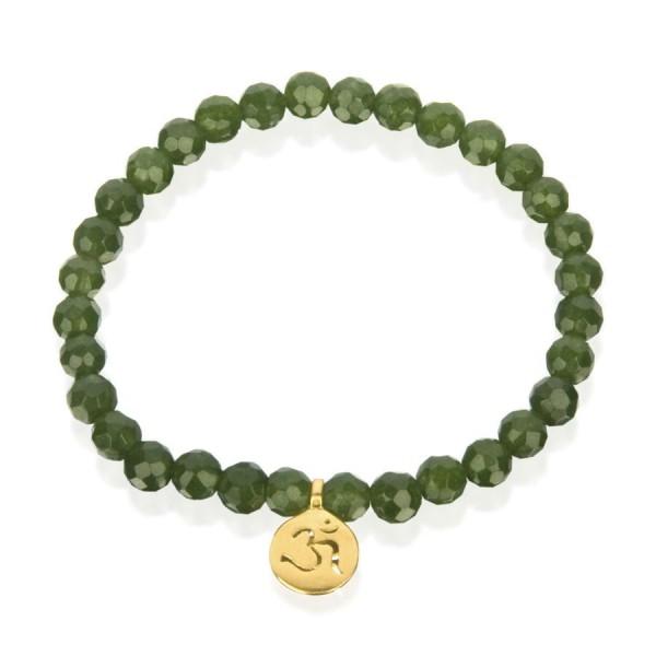 Satya Armband Gold Jade Om - Dual Harmony, vergoldet