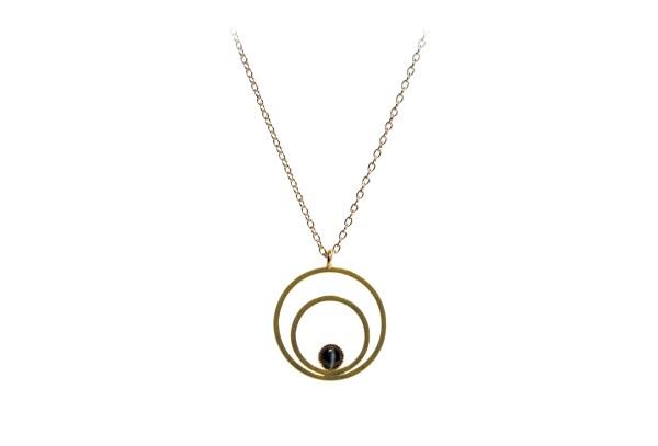 Raspe Kette Circle klein, schwarz, vergoldet