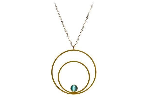 Kette Circle groß, grün, vergoldet