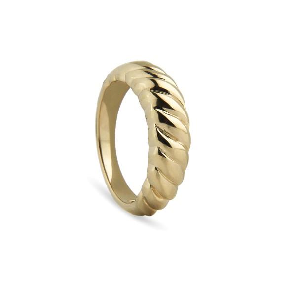 Jeberg Jewellery Ring Twisted Dome, vergoldet