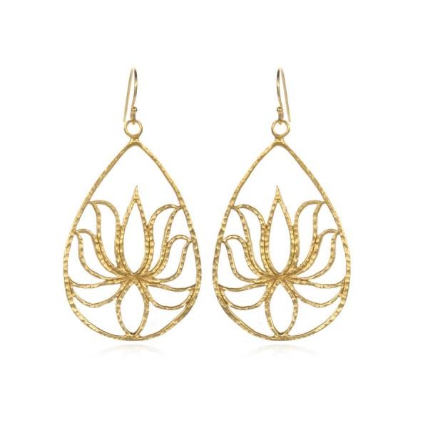 Satya Ohrringe Gold Lotus - Teardrop Lotus, vergoldet