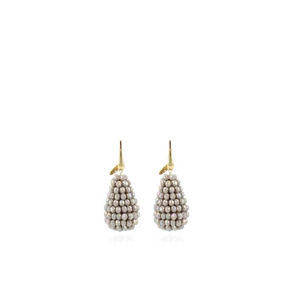Ohrringe Glasperlen in konischer Form, grau, vergoldet