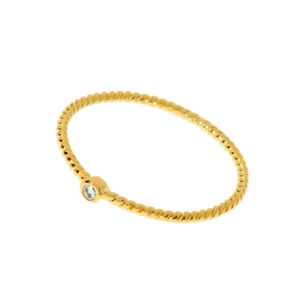 Ring 1 Zirkonia, vergoldet