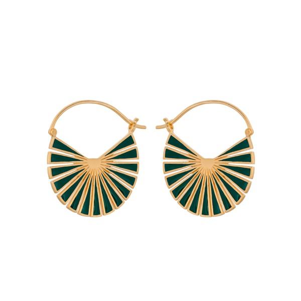 Ohrringe Flare grün, vergoldet