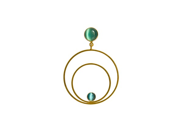 Ohrringe Circle groß, grün, vergoldet