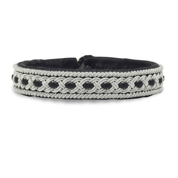 Armband AL003, Zinnfaden & Leder