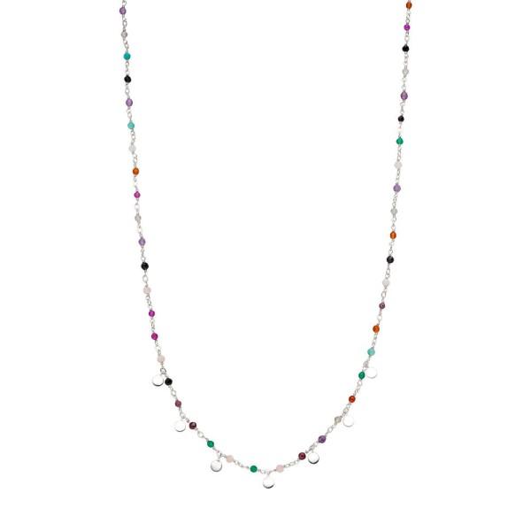 Leaf Kette Rainbow, Mix, kurz, Silber