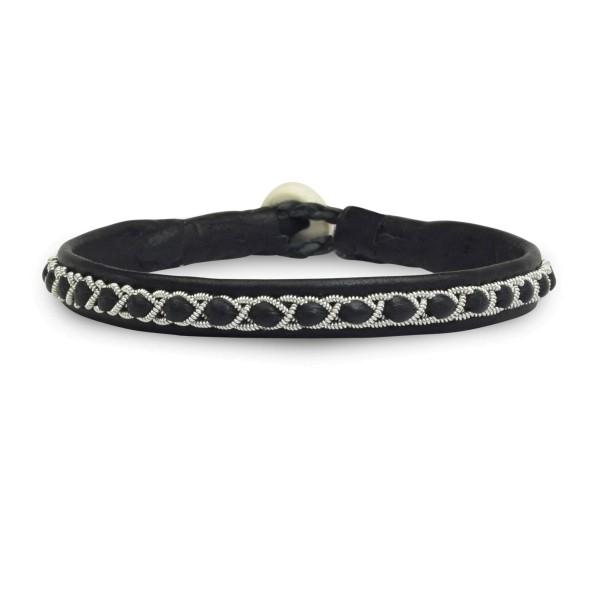 Armband AL025, Zinnfaden & Leder