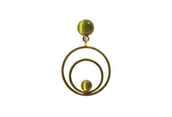 Ohrringe Circle klein, grün, vergoldet