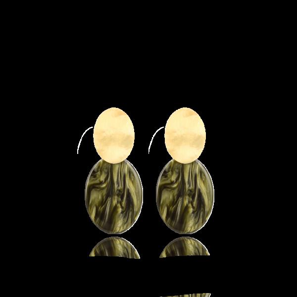 LOTT.gioielli Ohrringe Celia closed, oval, grün, S, vergoldet