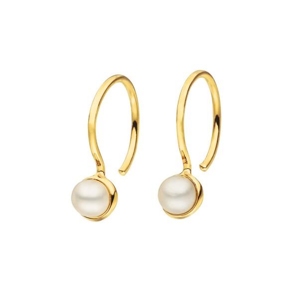 Ohrringe mit Perle, vergoldet