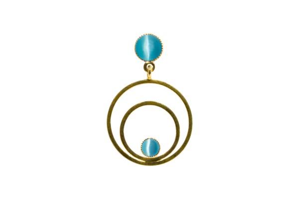Raspe Ohrringe Circle klein, aquamarine, vergoldet