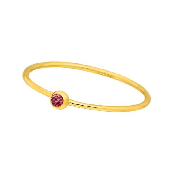 Ring Solitaire, Ruby, vergoldet
