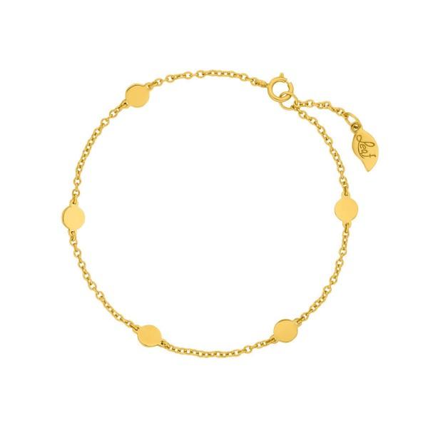 Leaf Armband Basic mit Plättchen, vergoldet