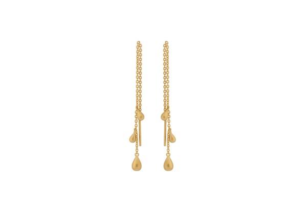 Ohrringe mit Kette Waterdrop, vergoldet