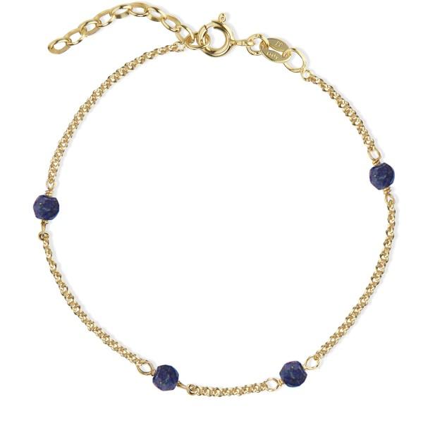 Armband Love Eye Blue Lapis Lazuli, vergoldet