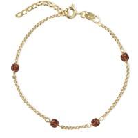 Jeberg Jewellery Armband Love Eye Bracelet - Red Garnet, vergoldet